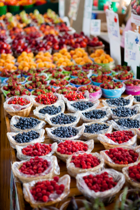 Fresh Fruit at a Montreal Farmers Market, Quebec, Canada