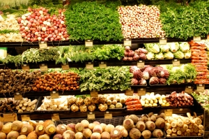Vegetables lined up in the supermarket