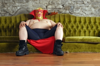 Wrestler Sitting on a Couch