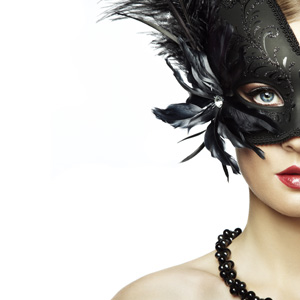 Girl with black feather mask